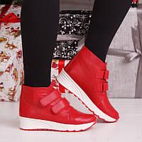 Женские зимние кожаные красные ботинки с застежками липучками на термополиэстеровой подошве