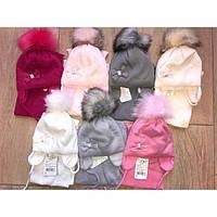 Детский зимний набор для девочки шапка и шарфик