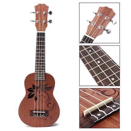 21 дюймовый сопрано укулеле Уке Sapele 15 лада музыкальный инструмент цветок, фото 2