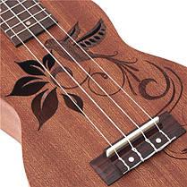 21 дюймовый сопрано укулеле Уке Sapele 15 лада музыкальный инструмент цветок, фото 3