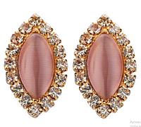 Женские серьги с розовым камнем кошачий глаз
