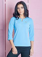 Офисная женственная кофточка Анита голубого цвета