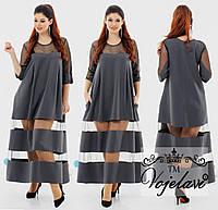 Длинное расклешенное платье больших размеров 48+ комбинированное сетка и креп-костюмка  / 3 цвета арт 3268-92