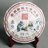Пуэр чай 357г Юньнань мелко-приготовленная пуэр Олени Менгхай Семь Людей тортовый спелые Пуэр чай зеленая еда