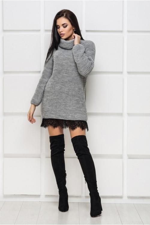 Вязаное теплое платье с кружевом р 42-50