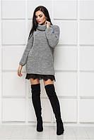 Вязаное теплое платье с кружевом р 42-50, фото 1