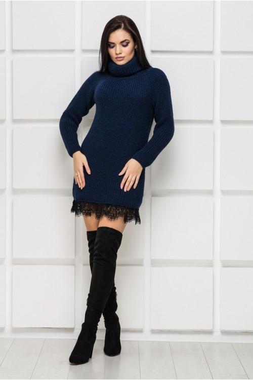 9a38705302e Вязаное теплое платье с кружевом р 42-50 - Wellness-sistem - интернет  магазин