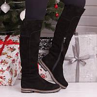 Сапоги ботфорты чёрные зимние замшевые с подкладкой из натуральной шерсти с застёжкой молния