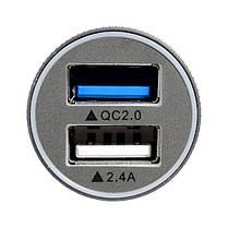 Авто Зарядное устройство Быстрая зарядка Dual Usb Многофункциональный алюминиевый сплав Авто Зарядное устройство, фото 3