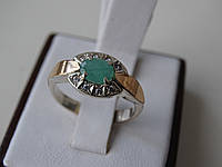 Серебряное кольцо с золотой пластинкой и изумрудом
