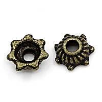 Шапочка для Бусин, Обниматель, Античная бронза, (подходит для бусин 4 мм ) 5 мм х 5 мм