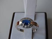 Серебряное кольцо с золотой пластинкой и сапфиром