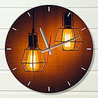 """Настенные часы  - """"Лампы"""" (на пластике)"""