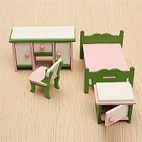 DOLLHOUSE миниатюрный комплект спальни деревянные набор мебели семьи ролевые игры игрушки