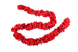 Гирлянда тканевая с бусинками, красная, 1.5 м