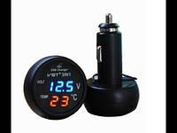 Цифровой авто термометр с вольтметром на 1 Usb VST 706-1