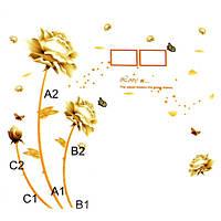 Поделки золотой цветок спальни гостиной телевизор фон водонепроницаемым стены стикеры