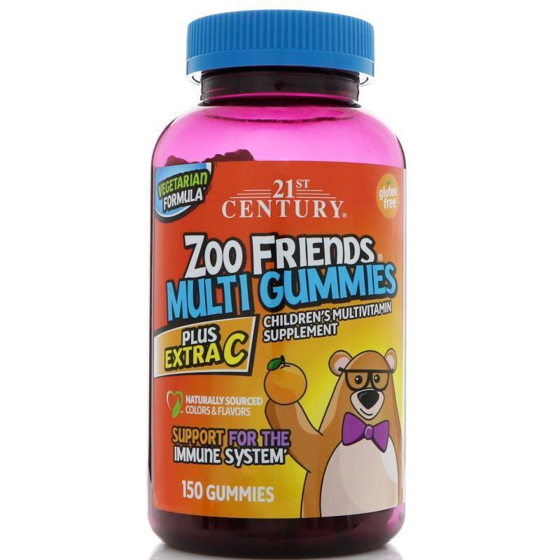 21st Century, Zoo Friends Multi Gummies, Plus Extra C, 150 шт