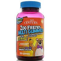 21st Century, Zoo Friends Multi Gummies, Plus Extra C, 150 шт, фото 1