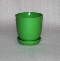 Горшок для цветов керамический, Глория глянец зеленый 1л