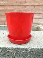Горшок для цветов керамический, Глория глянец красный 2л