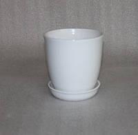 Горшок для цветов керамический, Глория глянец белый 1л