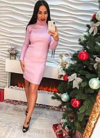 Женское теплое платье под горло