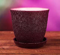 Горшок для цветов керамический, Глория шелкография бордовый