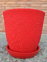 Горшок для цветов керамический, Глория шелкография красный 0,5л