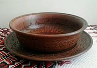 Миска на тарелке (резной набор)