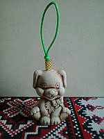 Собачка-малыш  с бантиком на веревочке 7 см (сувениры на Новый год Собаки)