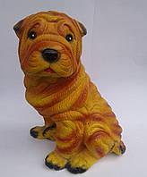 Шарпей желтый. Копилка собака 27 см (подарунок на новий рік 2018)
