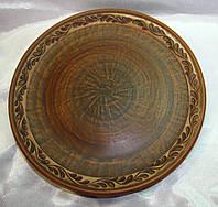 Тарелка плоская 25 см ангоб (листочек)