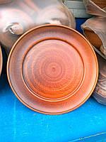 Тарелка из красной глины с рантом. 25 см