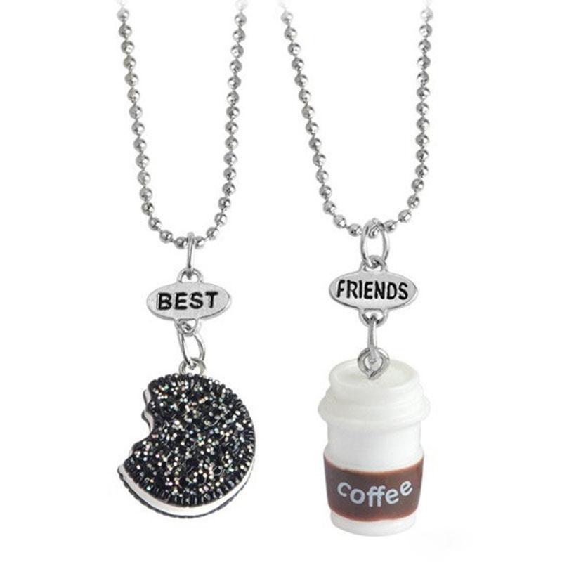 Двойной кулон печенье и кофе для лучших друзей и подруг Best Friends