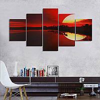 5pcs бескаркасных холст картины красный закат на берегу озера картина современного искусства стены домашнего декора