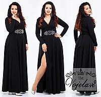 Вечернее платье больших размеров 48+ украшено рисунком из страз на талии / 4 цвета арт 3282-92