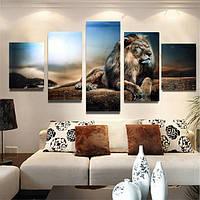 5pcs бескаркасных холст печати сидит лев стены картины искусства картины украшение дома