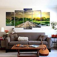 5pcs современное искусство печати озеро пейзаж плакат холст картины домашнего декора стен