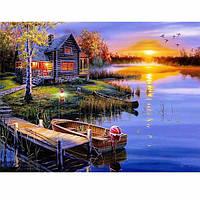 5D Алмазный Картина DIY озеро и дом Пейзаж Вышивка крестом Home Decor