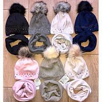 Детский зимний набор шапка на флисе и хомут для девочки