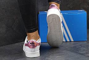 Кроссовки Adidas Superstar белые с розовым, фото 2