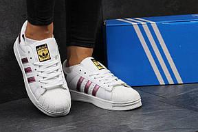 Кроссовки Adidas Superstar белые с розовым, фото 3