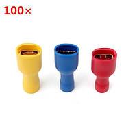 100шт ПВХ изоляцией терминальный гнездовой разъем быстрого провода желтый / красный / синий