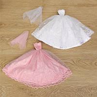 Розовый белое платье принцессы свадебное платье для куклы 30см дети играют игрушки