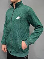 Размеры:48,50,52 Мужская утепленная кофта, толстовка Nike (Найк) | трикотаж с начесом - зеленая