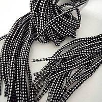 Шнурки 4 мм. 100 см., черно-белые.