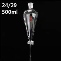 500мл 24/29 стекло грушевидные делительную воронку PTFE задвижка стеклянной пробкой трубка