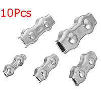 10шт нержавеющей стали дуплексной зажима проводов кабеля веревочные ручки зажимов суппорта 2 до 6 мм