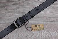Ремень BOSS кожаный ,черный, унисекс (мужской,женский)